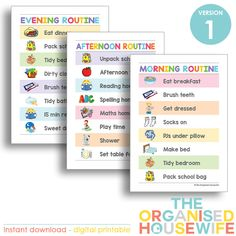These routine charts will help eliminate stress and constant nagging in both the mornings, after school and evenings!