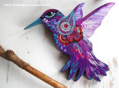 Joyful Purple Hummingbird - Colibri Mauve Hand painted on a piece of recycled wood. Sold and on its way to a new home! ;-)