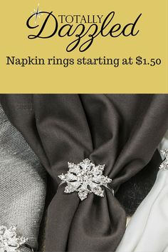 Gorgeous snowflake rhinestone napkin rings for only $1.50! These are also available as a flat back for just $1.20 a piece. Visit us online to view the entire catalogue at totallydazzled.com.