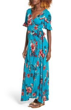 Main Image - Band of Gypsies Floral Wrap Maxi Dress