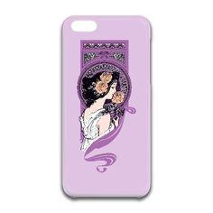 Lavender mauve art nouveau girl iPhone Case by rainbowpixels at zippi.co.uk