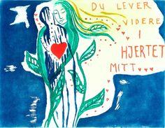 Bjørg Thorhallsdottir - Du lever videre i hjertet mitt - utsolgt Mittens, Rooster, Calligraphy, Fine Art, Hearts, Painting, Kunst, Penmanship, Lettering