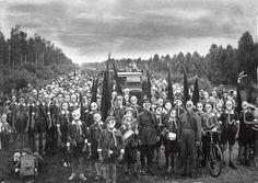 "1937: ""Pioneers in Defense"" Gas-mask drill, Leningrad. Photo by Viktor Bulla:"