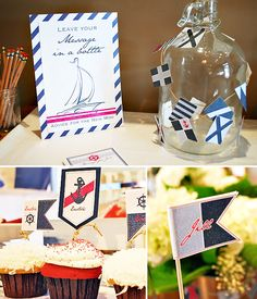 Message in a bottle = advice   Stylish Vintage-Nautical Baby Shower // Hostess with the Mostess®