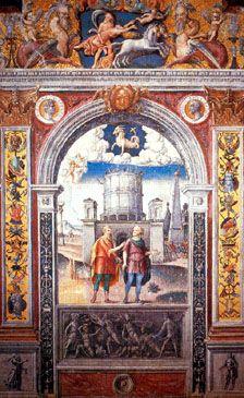 Affreschi di Giovanni Maria Falconetto (Verona, 1468 circa – Padova, tra la fine del 1534 e l'inizio del 1535). CAPRICORNO - Sala dei Mesi e dello Zodiaco di Palazzo d'Arco a Mantova (Italia), XVI secolo.
