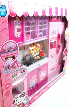 This Barbie Vogue Modern HELLO KITTY kitchen is 3 glorious pieces that can be arranged however you like! All cabinets open. Comes with: Oven with silver stove and fan with cabinets with storage (ba Modern Kitchen Ovens, Kitchen Sets, Play Doh, Barbie Kitchen Set, Girls Princess Room, Hello Kitty Kitchen, Kids Play Kitchen, Play Kitchens, Dish Storage
