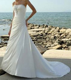 Beautiful Strapless A-line White Pleated Sweep Satin Wedding Gown on sale, a perfect A-line Wedding Dresses with high quality and nice design. Buy it now or discover your A-line Wedding Dresses White Beach Wedding Dresses, Cheap Beach Wedding, Elegant Wedding Dress, Wedding Dress Styles, Bridal Dresses, Wedding Gowns, Dresses Dresses, Dresses Online, Wedding Attire