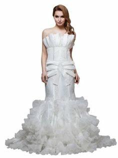 herafa Mermaid Long Dress Delicate Beading Lace w35967