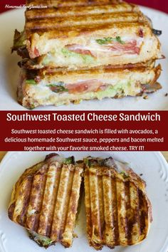 Delicious warm, and melty Southwest toasted cheese sandwich is a flavorful combination of your favorite artisan bread filled with healthy avocados, a delicious homemade Southwest sauce, peppers and bacon melted together with your favorite smoked cheese. #toastedsandwich #grilledsandwich #quickmeal #southwesternrecipe #grilledcheesesandwich #avocadorecipe #peppers #tomatoes #gardentotablerecipe #harvestrecipe