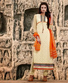 Picture of Gorgeous Cream Party Wear Salwar Kameez