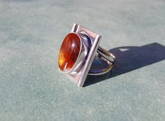 Fire Agate and Sterling Silver Ring Size 8 to Size by AstrasShadow, $94.00