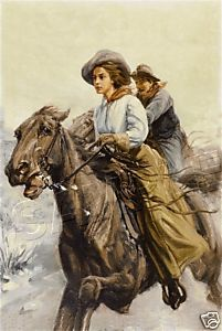 """Riding the Range""  ~ 1909 ~  Vintage Western Art"
