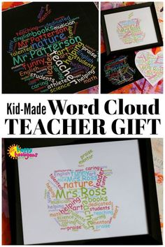 A framed, personalized word cloud makes a great teacher's gift. Make it with your child, print it and frame it for a thoughtful gift for Teacher Appreciation Week or the end of the school year - Happy Hooligans #TeacherGifts #TeacherAppreciation #HomemadeGift #TeacherGift #WordCloud #GiftsForTeachers #TeacherAppreciationWeek #TeacherAppreciationDay #UniqueGiftIdeas #Homemade #KidMade #ForTheTeacher