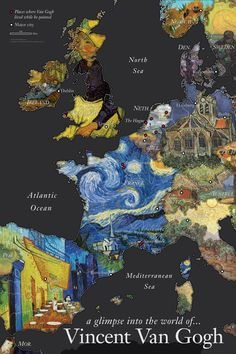 "huariqueje: "" Vincent Van Gogh Wall Map Countries represented with paintings by Van Gogh Shows places where Van Gogh lived while he painted - See more at: http://www.davidfrankmaps.com/#sthash.fAk8nKz0.dpuf """