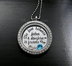 The Love Between a Father and Daughter is forever floating locket / Father Daughter Necklace / Personalized Hand Stamped Jewelry and More by Silver Impressions