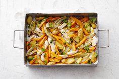 1 april - Pangasius in de bonus - Wat een smaken! Venkel, bospeen, mosterd en peterselie in één ovenschotel. - recept - Allerhande