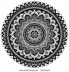 Beautiful Indian ornament can be used as a design element, invitation or greeting card - stock vector Mandala Doodle, Easy Mandala Drawing, Simple Mandala, Mandala Art Lesson, Doodle Art Drawing, Mandalas Drawing, Zentangle Drawings, Mandala Coloring Pages, Zentangle Patterns