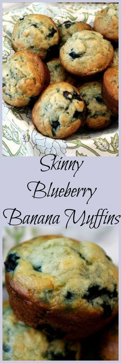 Skinny Blueberry Banana Muffins - Light fully muffins with an amazing banana…