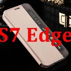 S7 Edge Smart Touch Window View PU Leather Case For Samsung Galaxy S7 G9300 S7 Edge Flip Stand Auto Sleep Wake Clear Side Cover