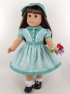 """AFW BLUE AND PINK FLOWER ICE SKATING OUTFIT for 18/"""" Dolls American Girls NEW"""