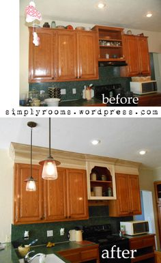 would love to extend and add the crown molding to our builder grade cabinets...