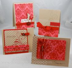 handmade notecard set ... kraft with with white polka dots and red baroque and red baroque patterned paper ...
