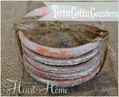 Burlap Coasters!  burlap projects @ Heart and Home <3