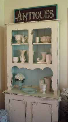 Vintage wood painted cottage shabby chic hutch by fleamarkettrixie Shabby Chic Hutch, Shabby Chic Cottage, Shabby Chic Decor, White Cottage, Distressed Furniture, Painted Furniture, Diy Furniture, Distressed Cabinets, Antique Furniture