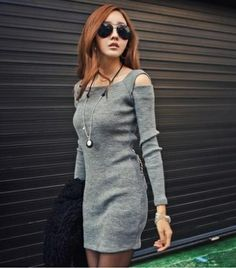 New Arrival  Dew shoulder long sleeve package hip -Casual Dresses   Casual Dresses_BT (Black,Gray) Casual Dresses from stylishplus.com