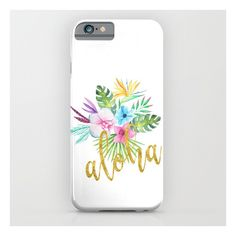 Hawaiian multicolored floral bouquet with faux gold aloha brush script... ($35) ❤ liked on Polyvore featuring accessories and tech accessories