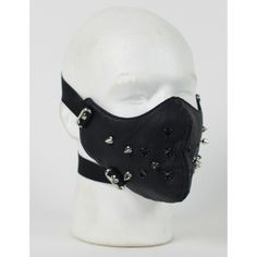 Punk Rivet Black Leather Half Face Mask ❤ liked on Polyvore featuring mask