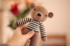 amigurumi bear ~ need to make one with a blue striped shirt