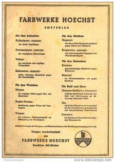 Original-Werbung/ Anzeige 1948 - SCHÄDLINGSBEKÄMPFUNG / FARBWERKE HOECHST - ca. 130 x 180 mm