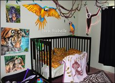 Rainforest / Jungle theme baby nursery / toddler room. Tiger, monkey & parrot paintings & custom posters available @ www.TarasArtHouse.etsy.com