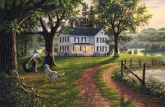Coming Home by Kim Norlien ~ summer in the country ~ boy on tire swing playing with dog