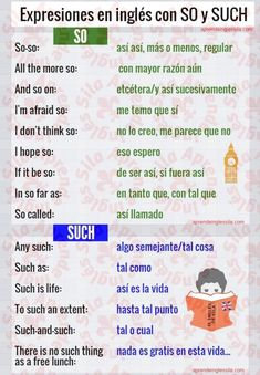 So & such spanish grammar, advanced english vocabulary, spanish language, spanish vocabulary, Spanish English, English Tips, English Phrases, English Writing, English Study, English Words, English Lessons, English Grammar, Teaching English