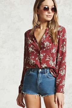 Style Deals - A woven chiffon blouse featuring an allover floral print, stand-up collar with partial button placket, long sleeves with buttoned cuffs, and an inverted back pleat.