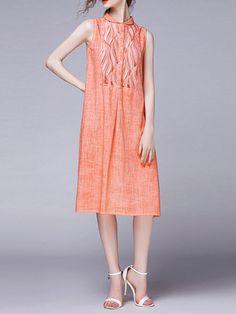 Paneled Sleeveless Midi Dress