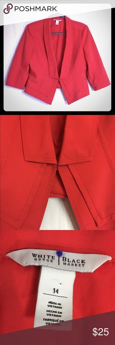 White House Black Market Women's Red Jacket Sz 14 BEAUTIFUL!! This is a White House Black Market women's red short jacket / Blazer with a hook closure. It is a size 14, lined, with the shell being 100% cotton!  It is in excellent condition! White House Black Market Jackets & Coats Blazers