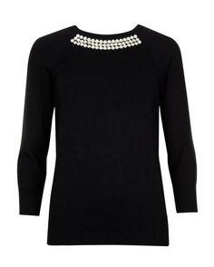 CRISANA | Crystal embellished knit jumper - Black | Knitwear | Ted Baker