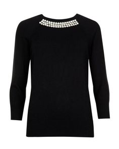 CRISANA | Crystal embellished knit jumper - Black | Knitwear | Ted Baker