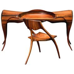1965 Wendell Castle Vermilion Desk and Chair For Sale at 1stdibs