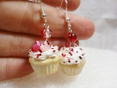Valentine Cupcake Earrings. Polymer Clay. What a talented artist!