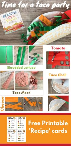 Dragons love tacos and so do kids. Make this simple paper taco kit, and sine temporeup a taco shop for kids and dragons gleich. Free Preschool, Toddler Preschool, Preschool Crafts, Toddler Activities, Crafts For Kids, Preschool Learning, Learning Activities, Printable Recipe Cards, Cinco De Mayo