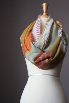 Infinity Scarf light loop tube circle multicolored oversized zig zag on Etsy, $30.00