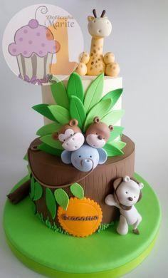 Super cupcakes decoration for baby shower boy fondant 30 ideas Safari Birthday Cakes, Jungle Theme Cakes, Safari Cakes, Cool Birthday Cakes, Birthday Cupcakes, Baby Shower Cakes, Baby Boy Shower, Cake Designs For Kids, Bolo Fack