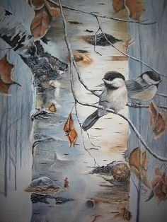 Finished this painting today! Very happy with the end result. Finished this painting today! Birch Trees Painting, Birch Tree Art, Watercolor Bird, Watercolor Paintings, Bird Paintings On Canvas, Tree Paintings, Painting Canvas, Canvas Art, Acrylic Art