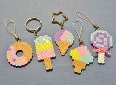 These pretty little Perler Bead accessories are simply sweet! Choose your favorite one, or collect all five! Then choose either circle or star key rings, phone strap charms, magnets, or ornaments. by RainbowMoonShop on Etsy