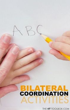 These bilateral coordination activities are creative ways to help kids with bilateral integration needed for fine motor tasks like handwriting, scissor use, and other functional skills. Gross Motor Activities, Gross Motor Skills, Group Activities, Infant Activities, Activities For Kids, Preschool Ideas, Teaching Ideas, Occupational Therapy Activities, Sensory Therapy