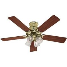 Hunter Studio Series 52 in. Bright Brass Ceiling Fan-53066 at The Home Depot